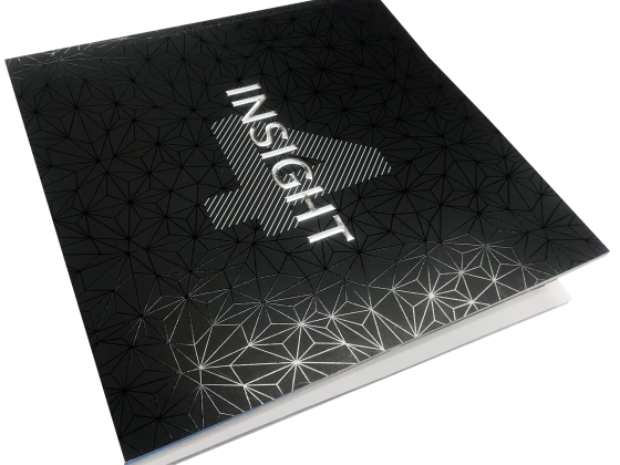Booklet Print Sample, Perfect Bound, Emboss, Foil Print
